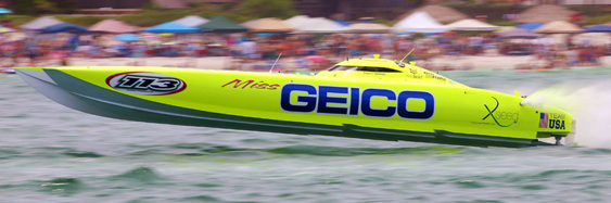 Look for Miss GEICO to repeat as the SBI Unlimited class World Champion in Key West in November. All photo by Pete Boden/Shoot 2 Thrill Pix. (https://www.facebook.com/pages/Shoot-2-Thrill-Pix/130528070292399)