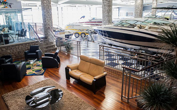 The showroom at the facility features a variety of runabouts and a large department dedicated to accessories.