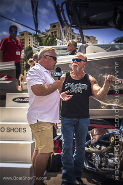 Jones interviews Paul Sr. of Orange County Choppers fame at the Palm Beach Boat Show in March.