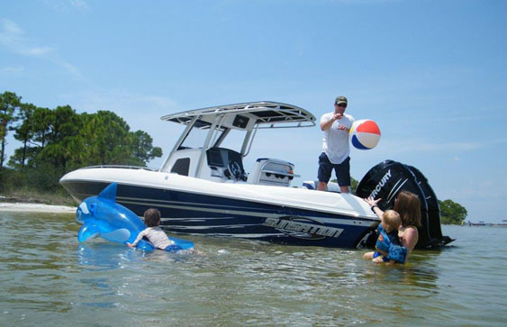Both the 29-foot (pictured) and 34-foot center consoles from Sunsation make excellent family boats. Photo courtesy Sunsation Powerboats