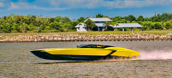 Gino Gargiulo is doing the Key West Poker Run in his stunning 48-foot MTI, which features a Lamborghini appearance inspired by his special Aventador built to commemorate Lamborghini's 50th anniversary. Photo by Jay Nichols/Naples Image (http://naplesimage.wordpress.com)