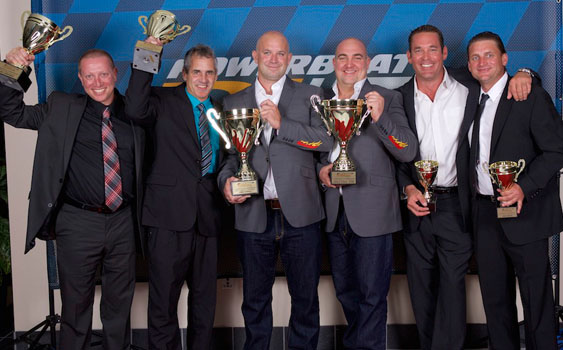 (L-R) 3rd Place Sandy Kingsman & Lee Baker of Space Coast; 2014 Champions James Norvill & Christian Parsons-Young with GD Environmental and 2nd Place Walt Cox and Jason Morton in Southeastern Lighting Solutions