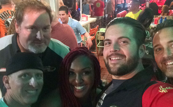 During the party, California author Jason Johnson (right) enjoyed the company of (from right) Missouri couple Justin and Cicely Wagner of Waves and Wheels, Maryland Offshore Performance Marine Center's Andy Imhof and Justin Lucas of Go Fast Threads in Kentucky.
