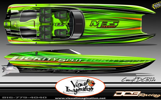 Although this rendering is a work in progress, Visual Imagination will start applying the first paint job to a new M35 Widebody from DCB Performance Boats next week.