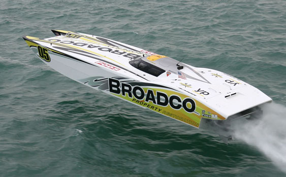 Caption: The Broadco team proved it had what it took to win the Superboat class world championships in its 40-foot MTI catamaran. Photo by Rodrick Cox