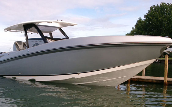 Caption: Sunsation started with its 34 CCX (pictured), added a 29 CCX and will have its new 32 CCX finished in 2015. Photo courtesy Sunsation Boats