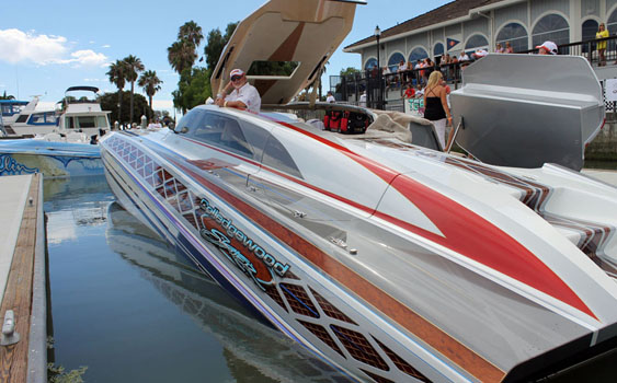 Gary Colledge's hardtop 38-foot Skater is one of many individualized boats he owns.