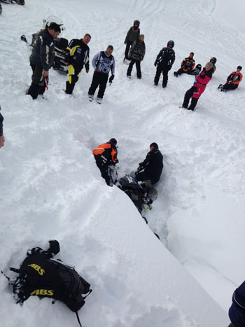 Mishaps like this are part of the adventure when snowmobiling.