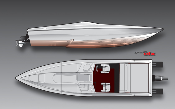 Whether ordered with stern drive power or outboards, the 29 Savage will be Active Thunder's answer to performance center consoles. Renderings by Chris Dilling/Grafik EFX.