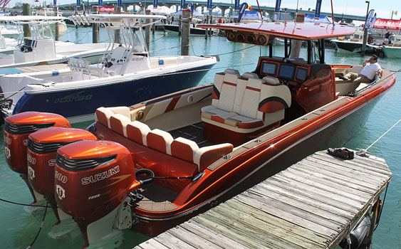 Waves and Wheels handled the entertainment system in Statement Marine's latest center console that was in the water at the Miami International Boat Show.