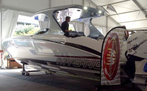 With its new 44-foot catamaran and 39-foot center consoles on display, Mystic Powerboats promoted its partnership with Waves and Wheels.