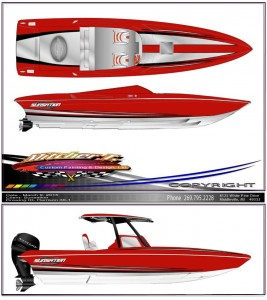 For the first time ever, Sunsation is building two boats simultaneously for the same customer—a 36 SSR (top) and a 29 CCX.