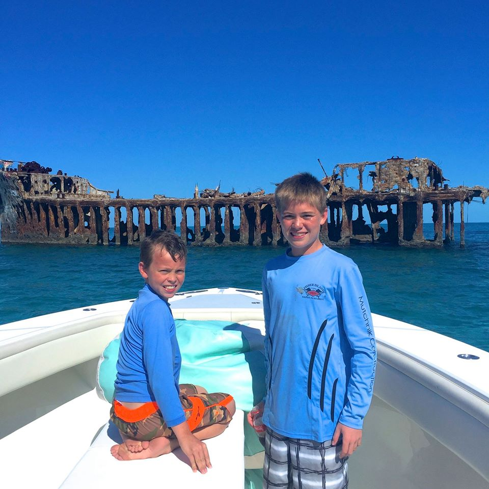 A little wreck diving off Bimini had the Granet boys all smiles.