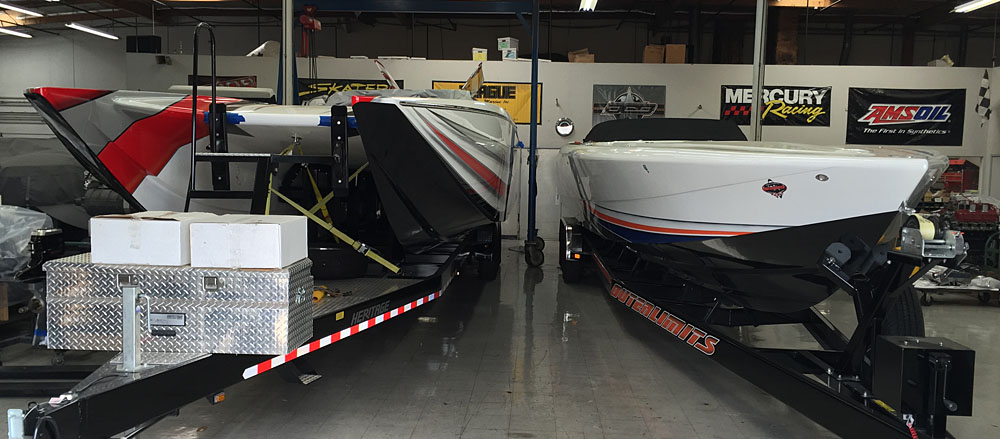 The talented team at Teague Custom Marine is currently working on a 42-foot cat from MTI (left) and a 43-foot V-bottom from Outerlimits.