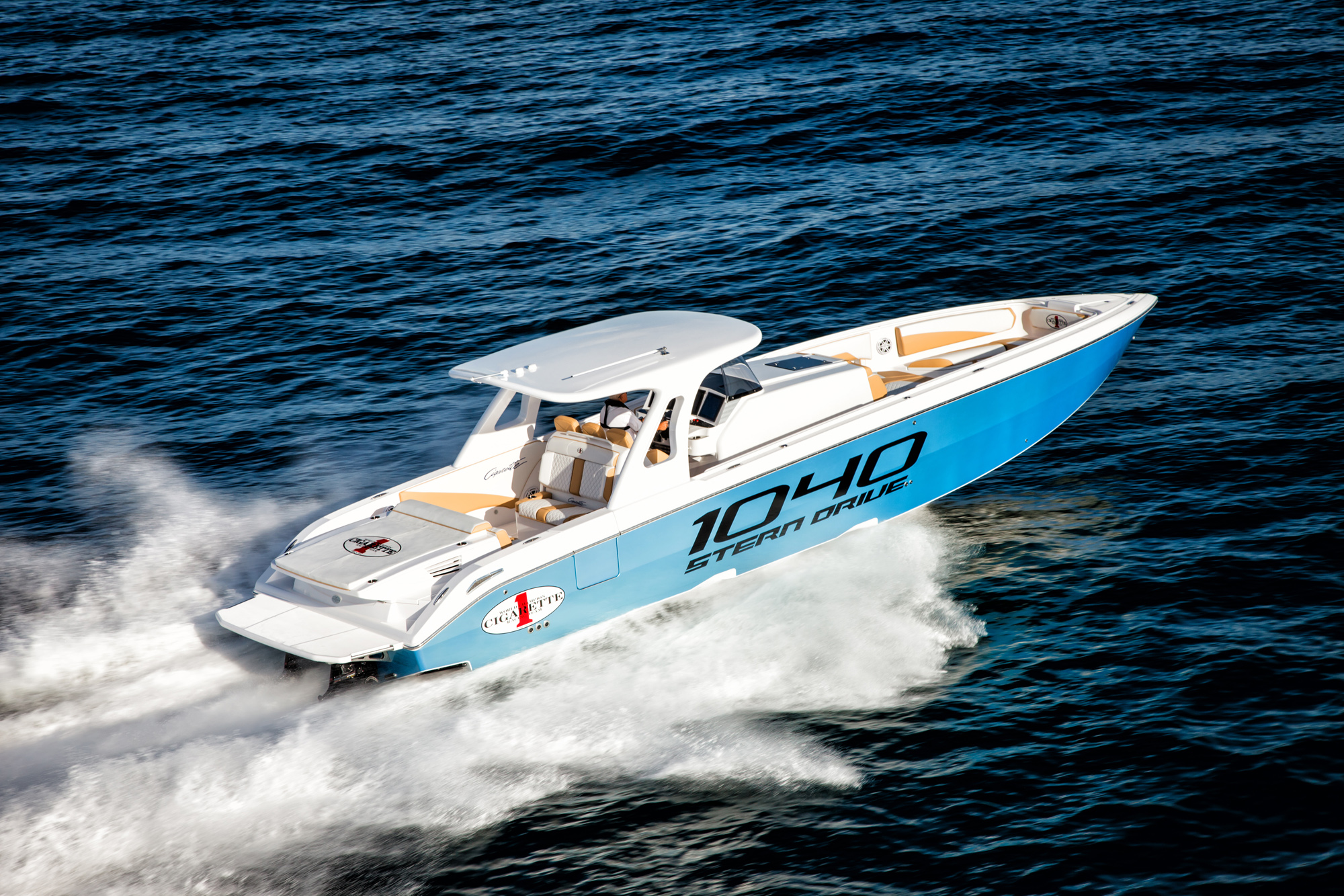 """Braver on the 41' 1040 Stern Drive: """"We started with a completely clean sheet of paper. It was an entirely new concept in boating.'"""