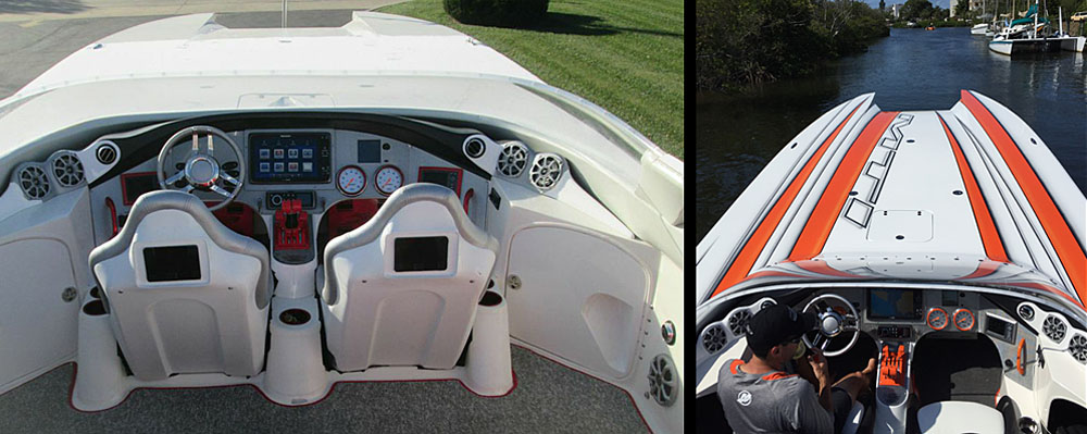 MTI replaced much of the hardware in the catamaran's cockpit and swapped out the interior with color-matched diamond-stitched upholstery and custom-painted seatbacks. Photos courtesy Tim Gallagher