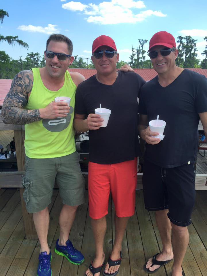 This trio of Skater 388 owners—Kort Wittich, Bill Pyburn and Mike Thornton—had a memorable time in Louisiana. Courtesy Fallon Thibodeaux