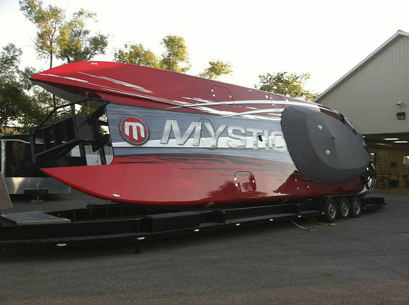 Tennessee performance boater Chad Collier is planning to show off the 50-foot Mystic he purchased in February and has been modifying to make his own. Photo courtesy Chad Collier