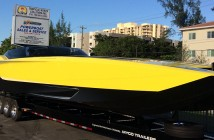 Just before getting shrink-wrapped and shipped to Spain, Xtreme Powerboats in Miami made sure the 48-foot MTI was ready for delivery to its new owner.
