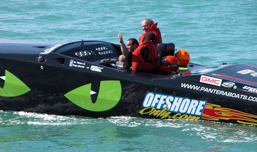 Racing in their 28 Pantera, Jo and Pepe Nuñez took home the F2 class title at the 2003 Key West Offshore World Championships. Photo courtesy Pantera Boats
