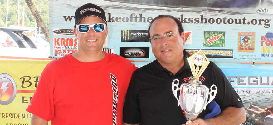 Fiore and longtime friend and racing partner Joe Sgro celebrated success at the 2013 Lake of the Ozarks Shootout.
