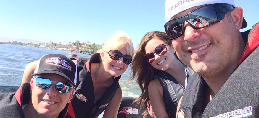 Fiore enjoyed good times during the 2014 Big Cat Poker Run with Shonda, her brother Dustin and a guest on Dustin's ultra-custom Outerlimits SV43 V-bottom.