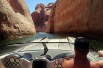 An M35 Widebody from DCB makes its way through one of the many scenic Lake Powell channels during last year's poker run.