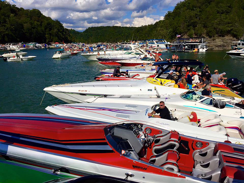 The raft-up in Party Cove at Harmon Creek is always a highlight of the Lake Cumberland Poker Run in Kentucky.