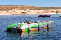 Bob and Andrea Teague enjoyed the Lake Powell Challenge aboard their 32-foot catamaran from DCB powered by Teague Custom Marine 1,200-hp engines.