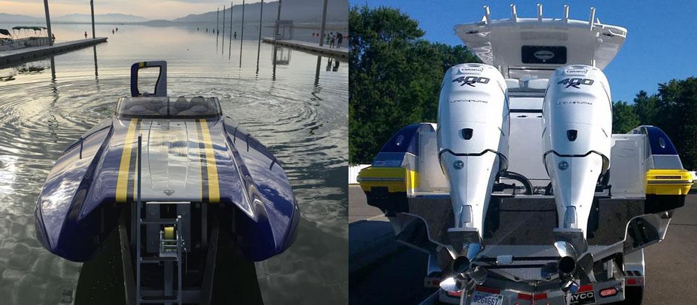 Best of both worlds: Scott Oldnettle's matching Sunsation center console and DCB sport catamaran.