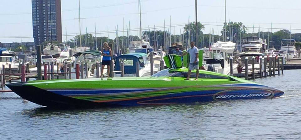 Max, an Outerlimits SC 39 catamaran owned by Burton Kirsten is Stephen Miles' favorite Outerlimits paint job to date. Photo courtesy Keith Burk