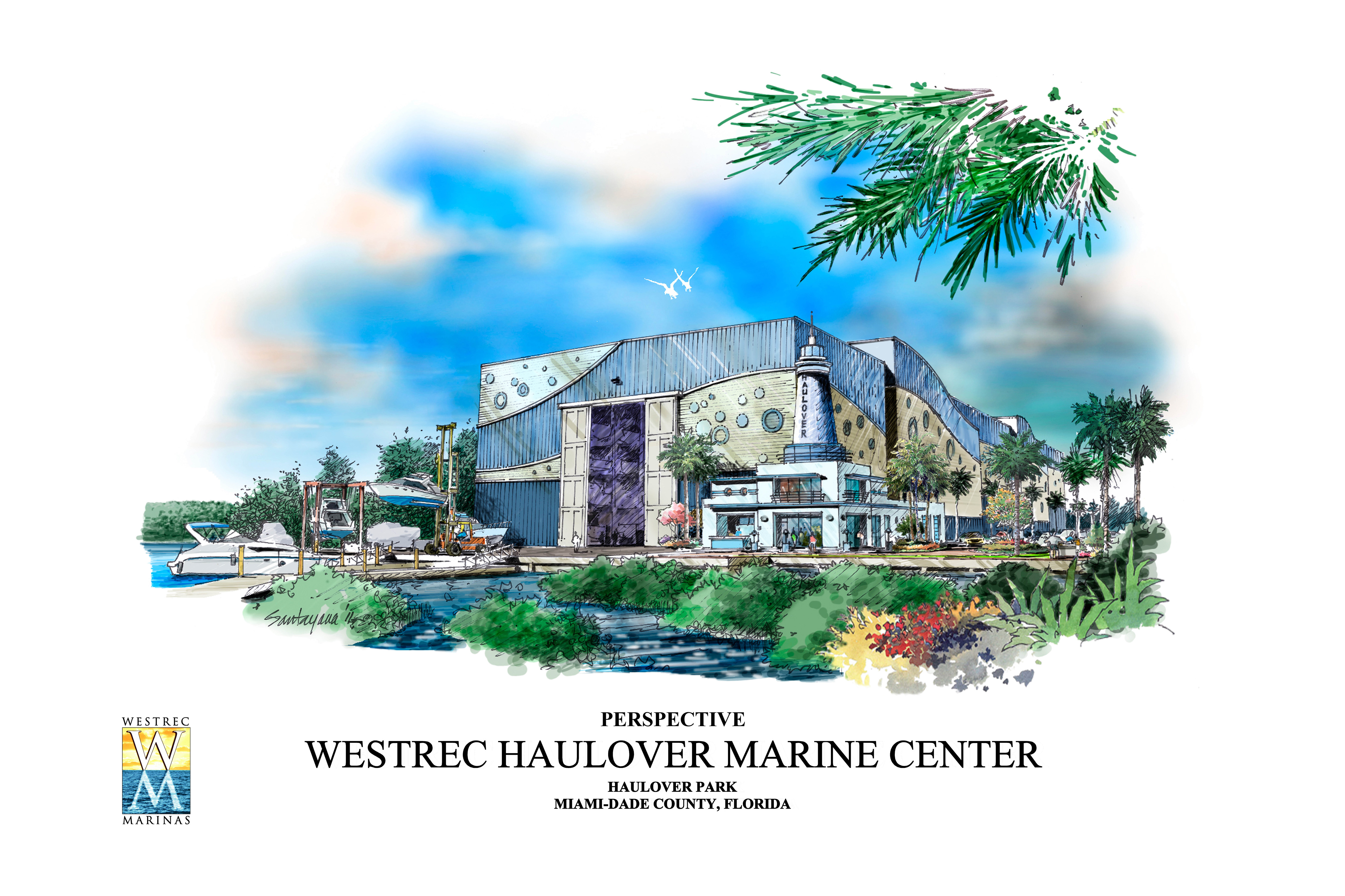 a rendering of the new Haulover Marine Center and future home of Xtreme Powerboats. Photo Credit: Courtesy Westrec Marinas