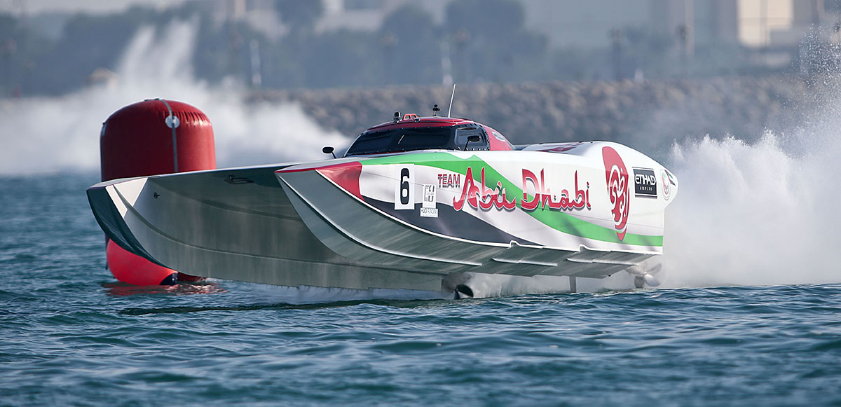 Team Abu Dhabi's Class 1-winning 48-foot MTI driven by Gary Ballough and John Tomlinson was propelled by Mercury Racing engines and drives. Photo courtesy ADIMSC