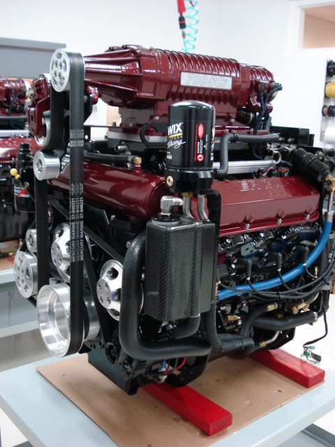 """Said Potter: """"We have a rebuild package price for every MerCruiser and Mercury Racing engine we handle, and our rebuilding include repainting."""""""