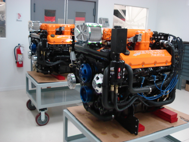 A pair of rebuilt Mercury Racing 525 EFI engines rebuilt by Potter Performance Engines.