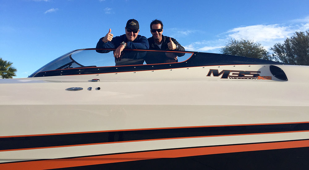 Brad Macaulay and Tony Chiaramonte head out for a little testing in Macaulay's new M35 Widebody XS model. Photo courtesy DCB