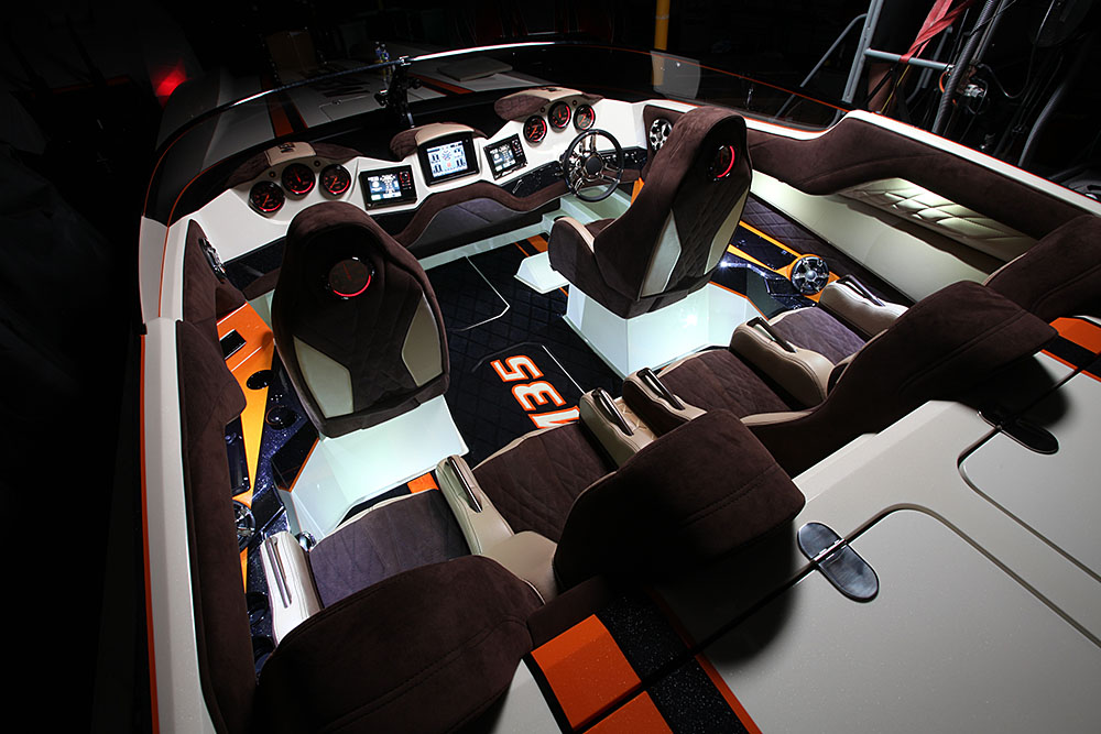 Between the upholstery, the carpet, the lighting and the electronics, the 35-footer's cockpit is a work of art. Photo courtesy DCB