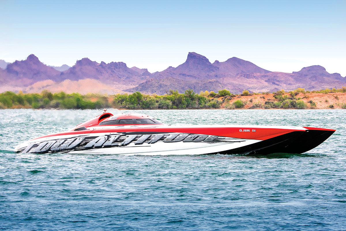 With a 182-mph run, Win Farnsworth's Low Altitude Mystic set a new top speed record at the Desert Storm Poker Run in April. Photo by Erick Bryner
