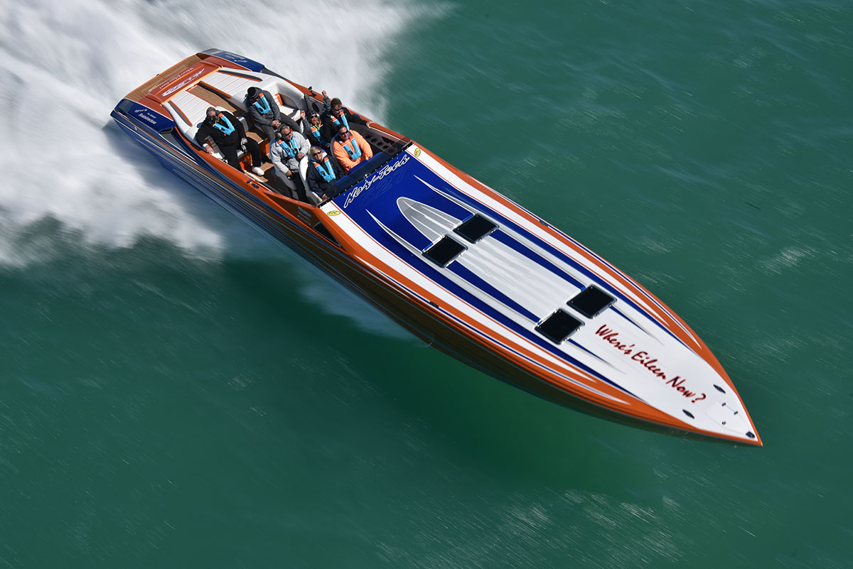 Mark and Eileen Fischer's 50-foot Nor-Tech was one of the year's most impressive new boats. Photo courtesy Florida Powerboat Club