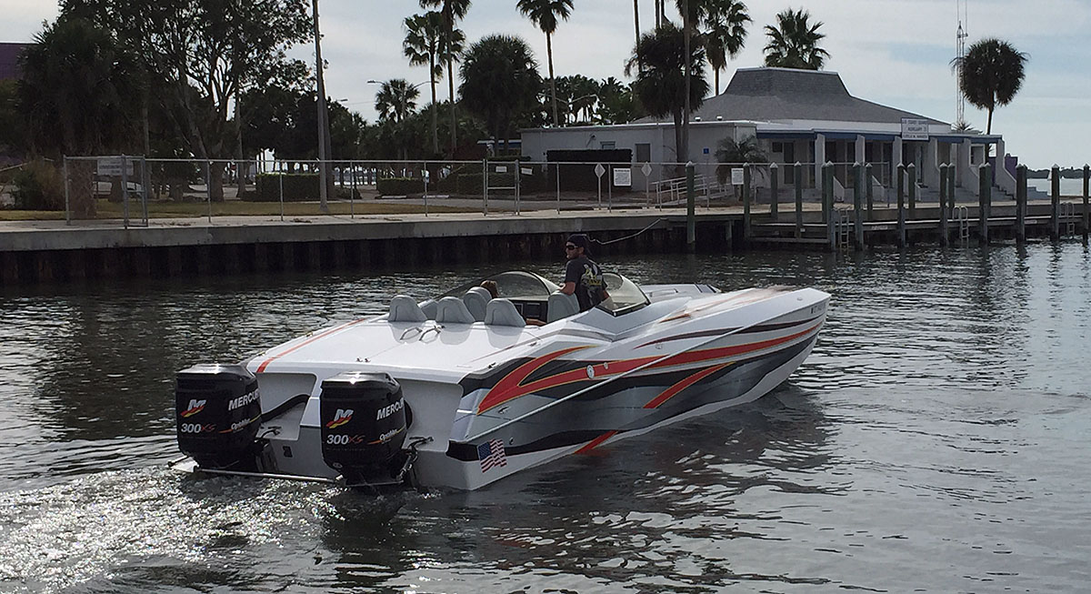 With help from Grant's Signature Racing, Lockyer's 32 Skater powered by twin Mercury Racing OptiMax 300XS engines is performing better than before.