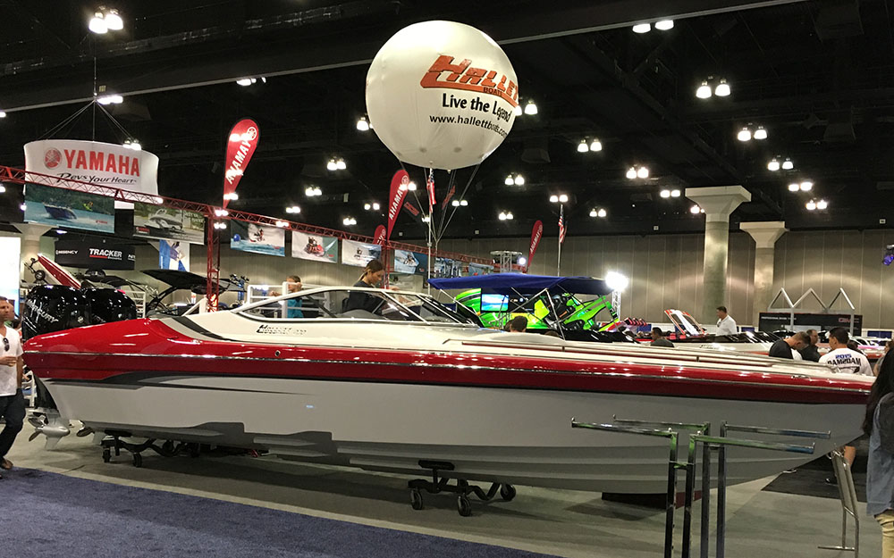 Hallett Boats showcased the first outboard-powered model it has built in decades at last week's Los Angeles Boat Show. Photo by Jason Johnson