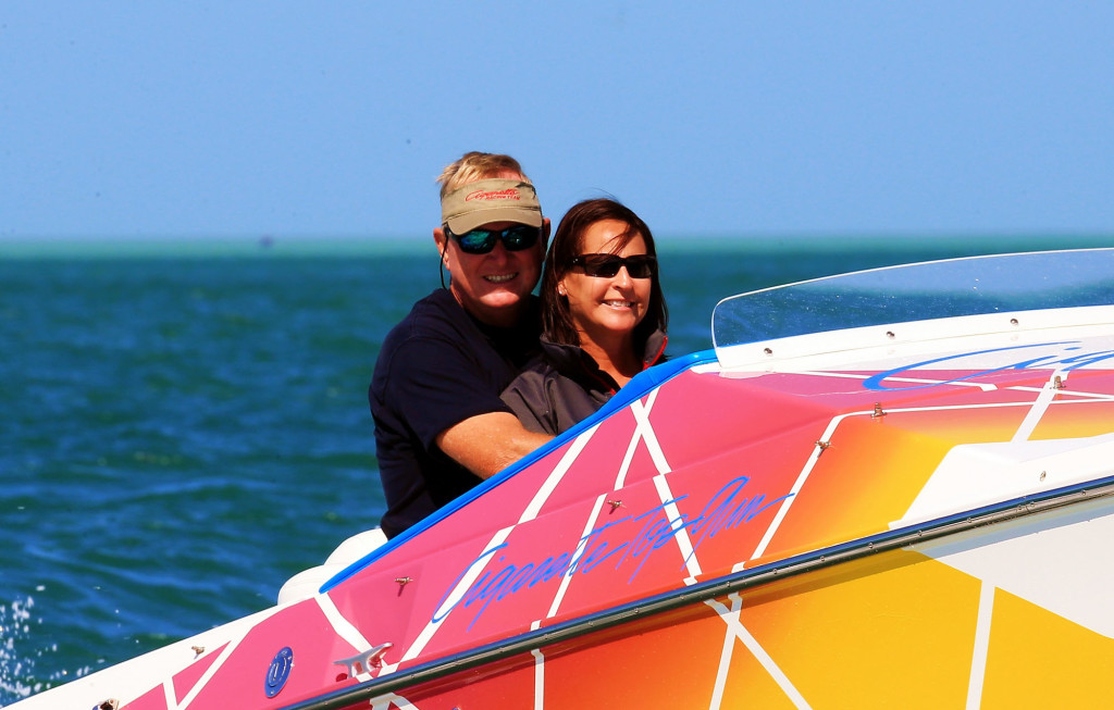 Owners of a 1993 Top Gun, Jim and Patty Kirkland will trailer their boat more than 1,000 miles to reach the event. Photo by Pete Boden. (https://www.facebook.com/Shoot-2-Thrill-Pix-130528070292399/?fref=ts)