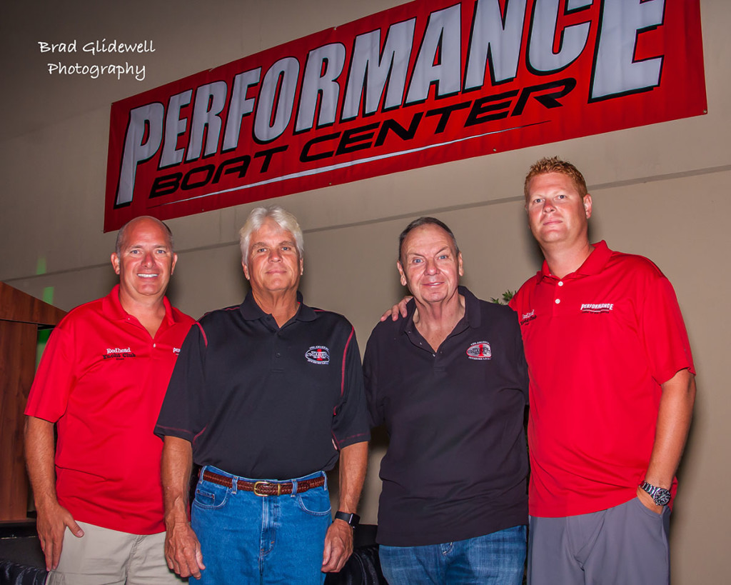 Dedicated to making the second Cigarette Rendevous event a success are (from left) Mark Waddington of Performance Boat Center, Cigarette's Bud Lorow and Skip Braver and Brett Manire, also from Performance Boat Center. Photo by Brad Glidewell. ) https://www.facebook.com/Brad-Glidewell-Photography-177440952270143/?pnref=lhc)