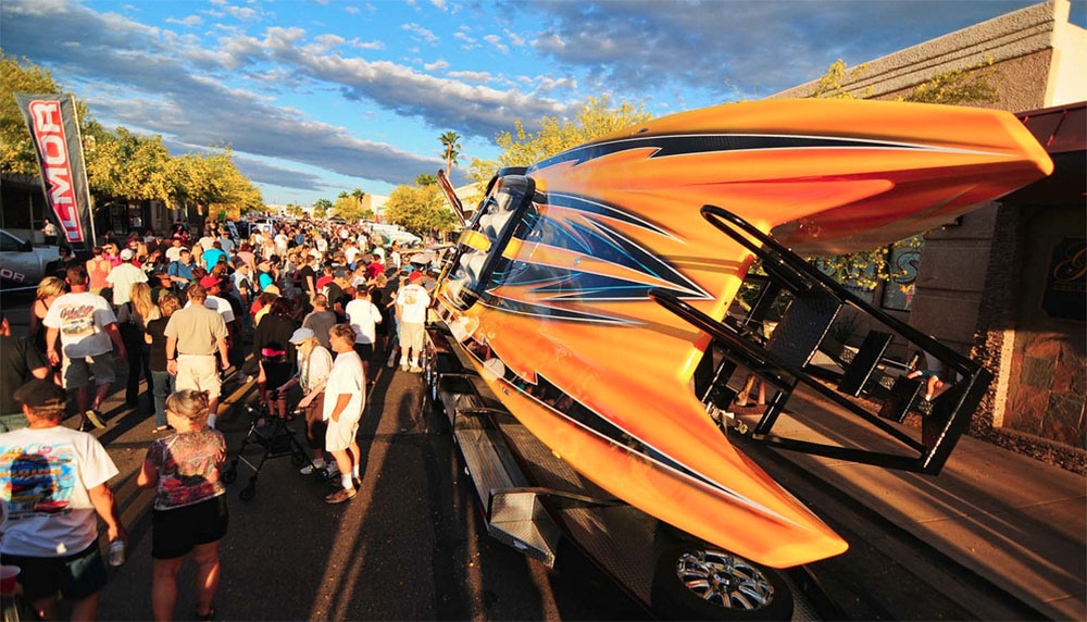 Spectre Powerboats, the title sponsor of this year's Desert Storm Poker Run in Arizona, is planning to showcase its redesigned 32-foot sport cat during Thursday's street party.