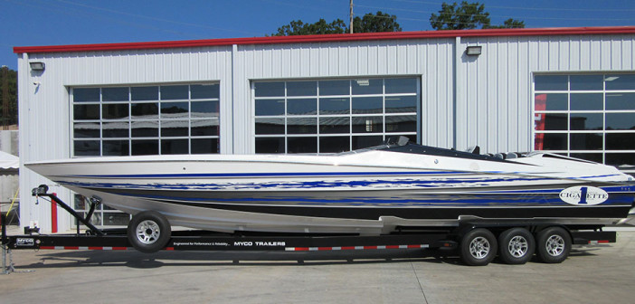 Performance Boat Center opted to power its stock Cigarette 42X with a pair of Mercury Racing 1100 engines.