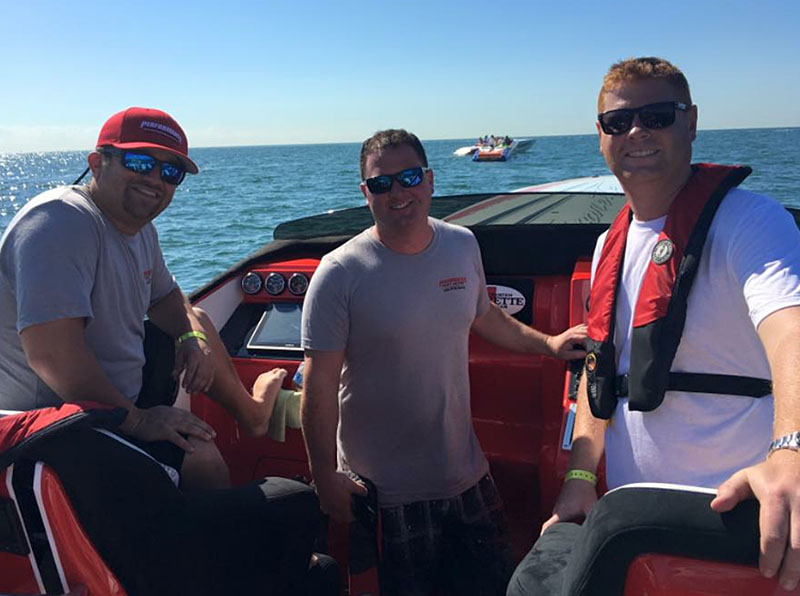From left: Myrick Coil, Brett Adams and Brett Manire enjoyed the 2016 Miami Boat Show Poker Run in Performance Boat Center's latest Cigarette 42X, which is powered by twin Mercury Racing 1350 engines.