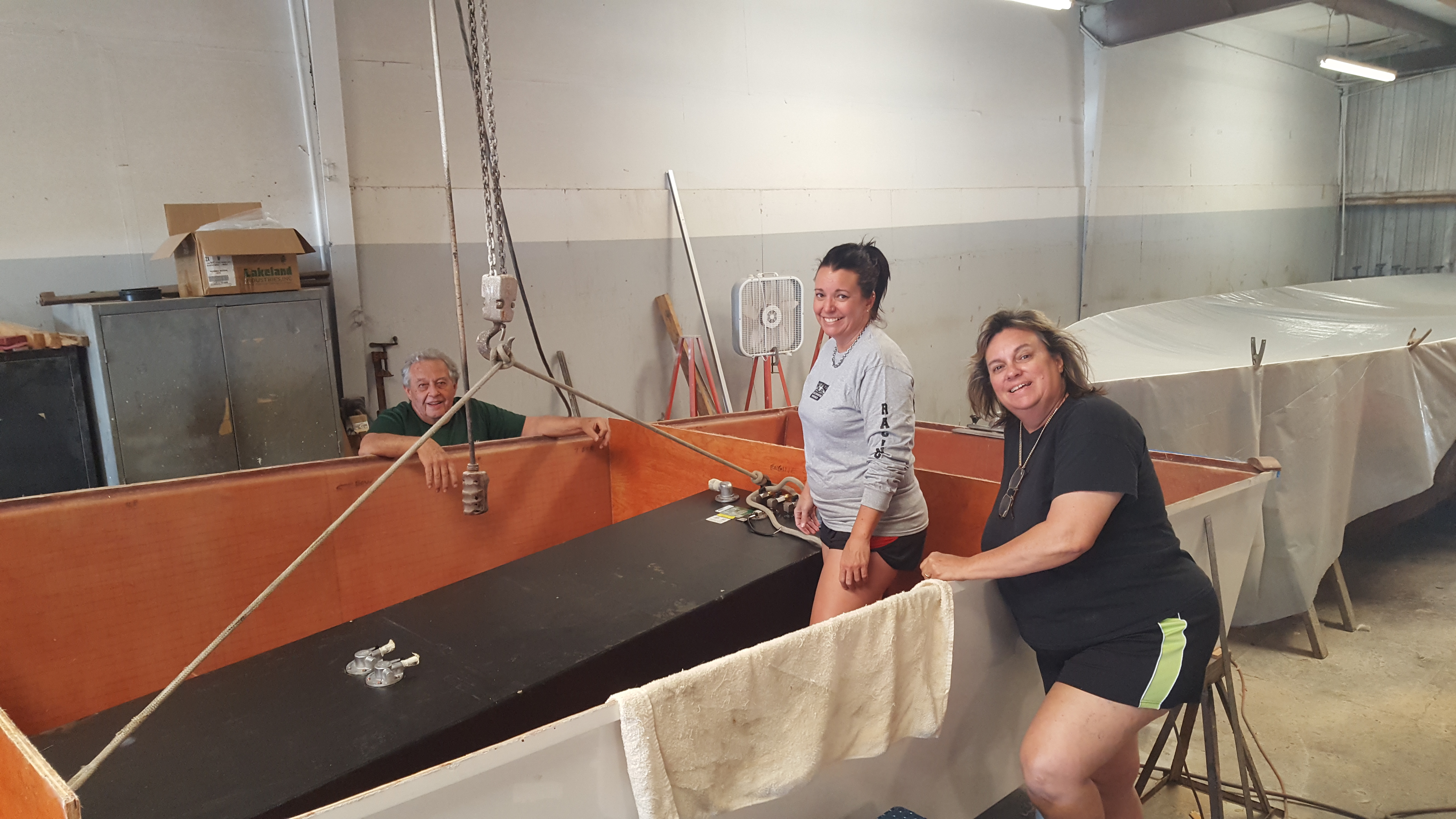 (From left) For Richie, Meri and Christine Sutphen, boatbuilding always has been a family affair. All photos courtesy Sutphen World Champion Powerboats LLC.