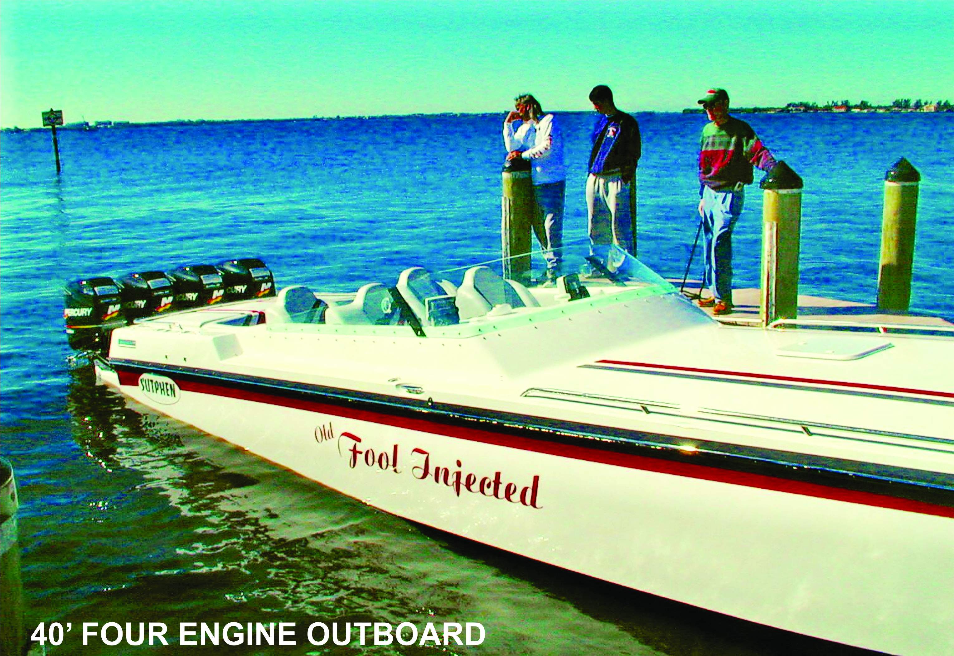 An outboard-powered 40-foot Sutphen.