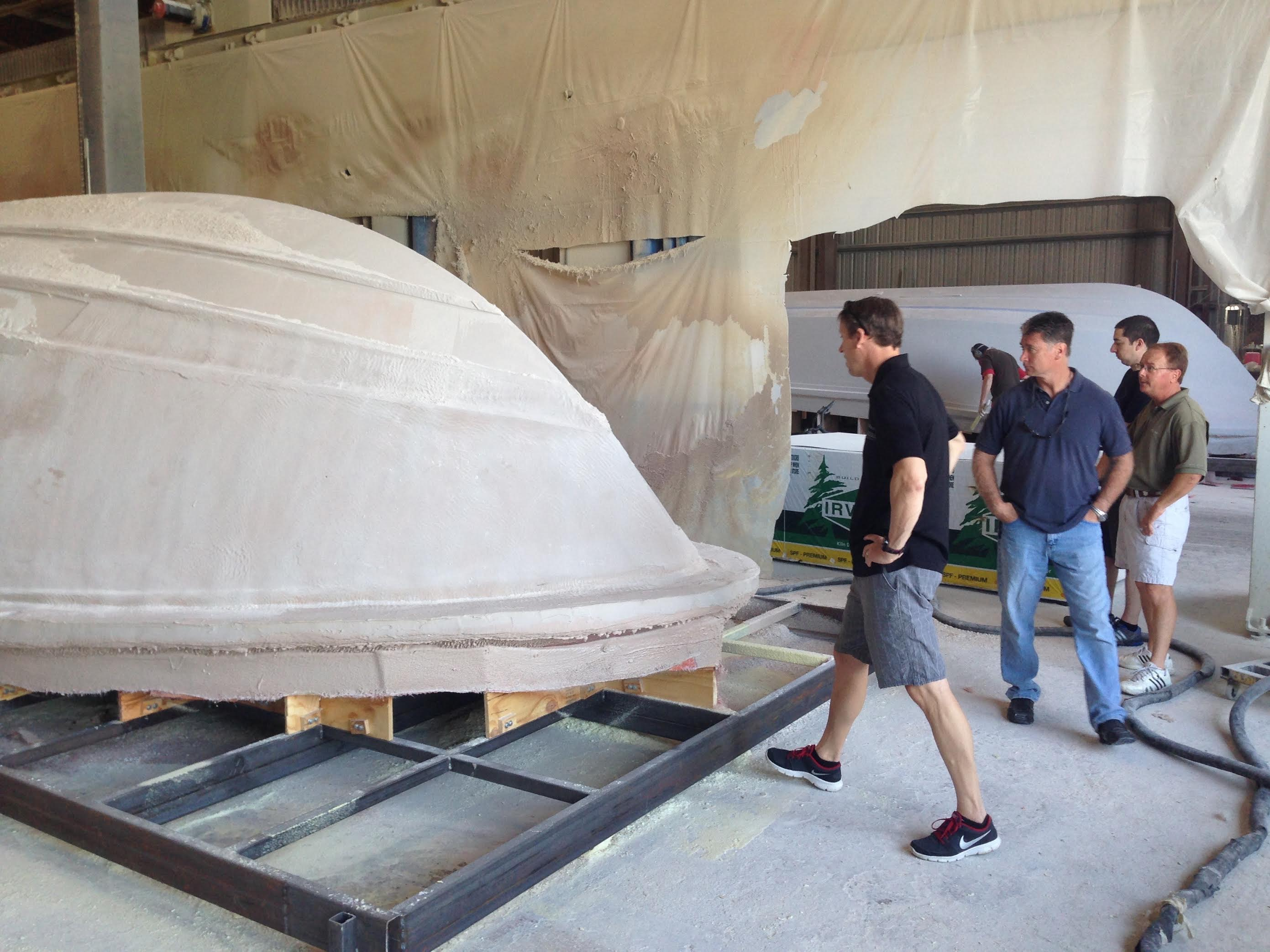 Early in the development of the M4200 at Mystic's headquarters in DeLand, Fla., Shogren's Greb Weber and Mystic's Johns Cosker watched the prototype take shape.