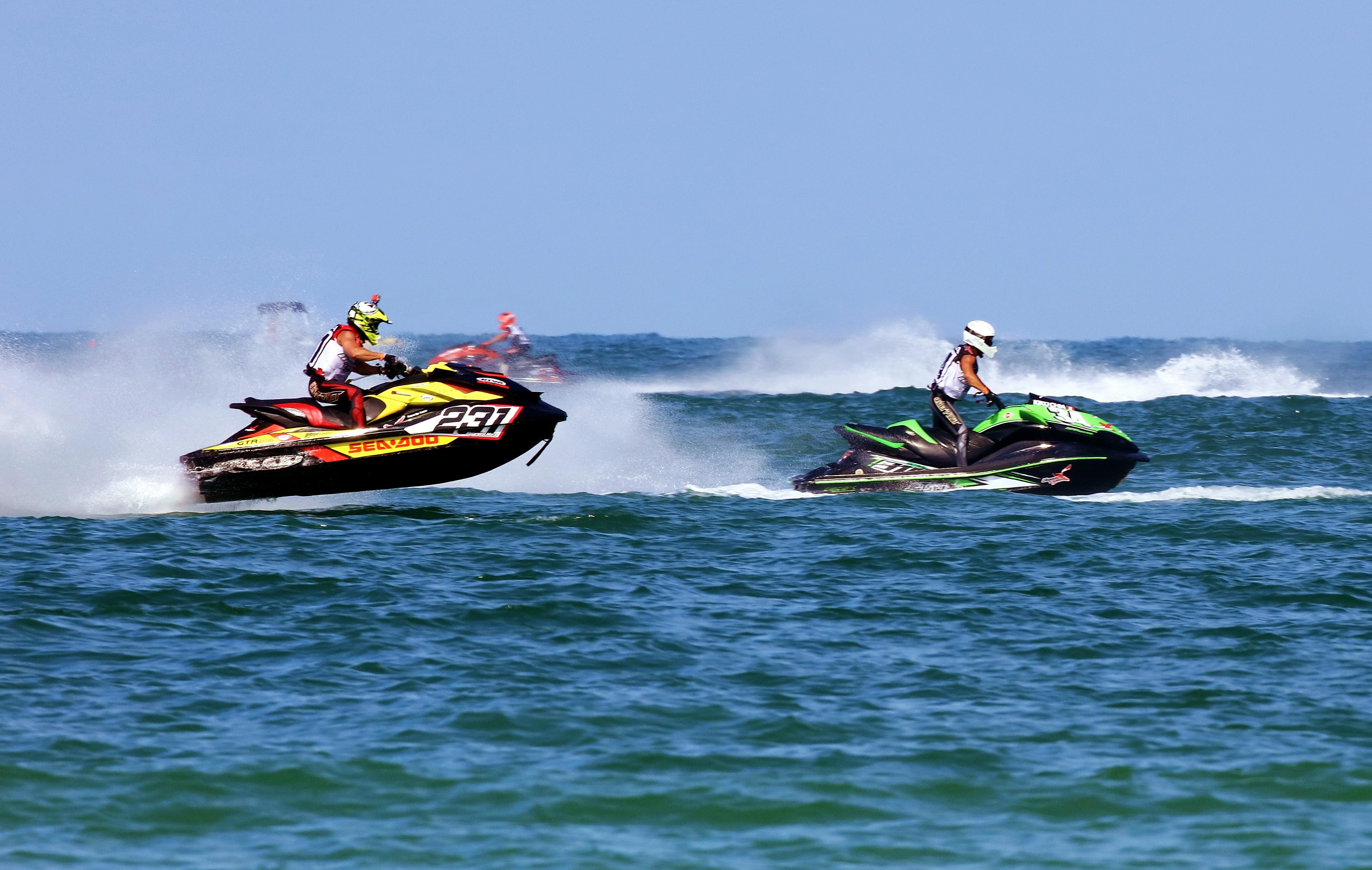 The smallest raceboats competing in Sarasota, Aqua X personal watercraft comprised some of the biggest fleets and helped deliver nonstop action on the water.